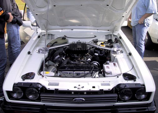 Engine Bay of Ford Capri 2.8 Turbo, Chassis No. CS79440